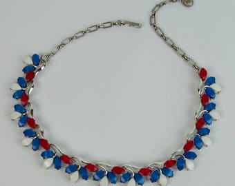 1950s 1960s Red White & Blue  Leaf Leaves Thermoset Silver Tone Vintage Mid Century Adjustable Plastic Lucite Choker Necklace