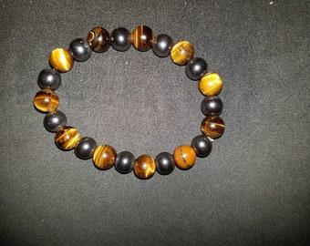 Tigerseye and hemetite beaded bracelet