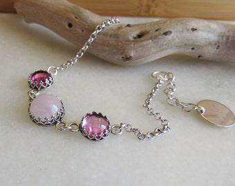Pink Sapphire and Pink Quartz Bracelet, Personalized Silver Bracelet, Gemstone Bracelet, Pink Bracelet, Birthstone Bracelet, Silver Jewelry