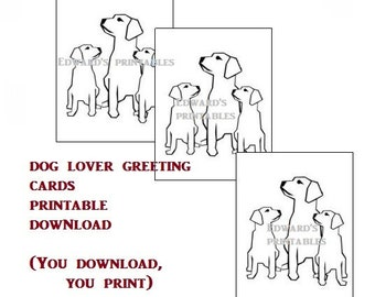 BLANK GREETING CARD, Dog Lover Card, Instant download.  You download you print