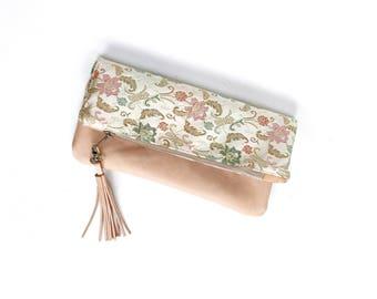 Leather Satin Fold Over Clutch, Foldover Clutch, Floral Satin Print, Evening Clutch, Folded Handbag