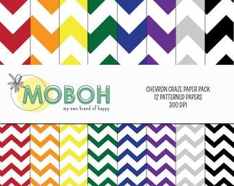 Chevron Craze Digital Paper Pack - Rainbow