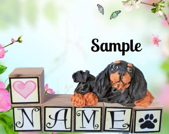 Black and Tan Cavalier King Charles Spaniel dog PERSONALIZED with your dog's name on blocks by Sally's Bits of Clay