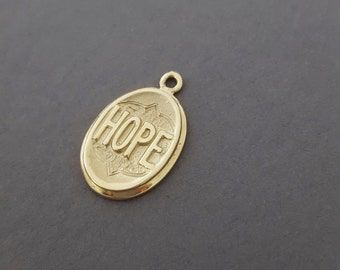 """Antique Inspired *YELLOW GOLD* Victorian """"HOPE"""" Charm / Pendant Necklace - Sentimental Jewelry"""