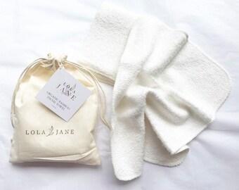 Organic Bamboo Facial Towels/ set of 2/ sensitive skin/ drawstring muslin cotton washbag