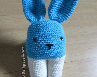 Toy rattle blue and white crochet Bunny