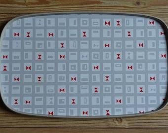 Geometric pattern melamine drinks tray, reversible, vintage 1950s