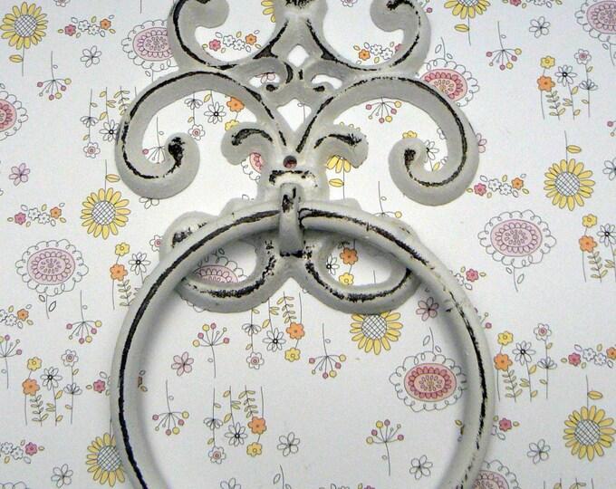 Fleur de lis Cast Iron Shabby Chic White FDL Small Hand Towel Wall Holder Home Decor