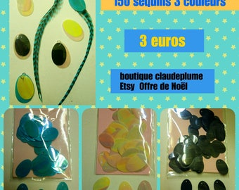 150 oval sequins 3 colors
