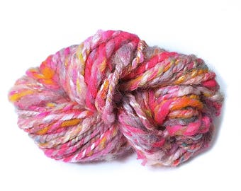 Pink and Orange Art Yarn, Sparkly Plied Handspun Yarn, Pink and Silver  Handspun Wool Silk Angelina Yarn, 24 yards
