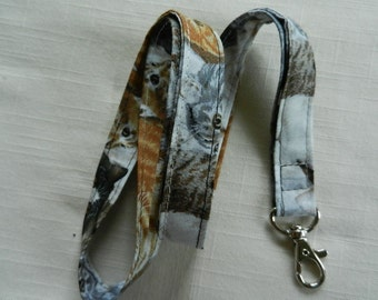 Cat Print fabric neck lanyard