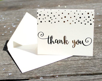 Gold Foil Thank You Cards (10) - Silver Foil Thank You Cards - Wedding Thank You Cards - Confetti Thank You Cards