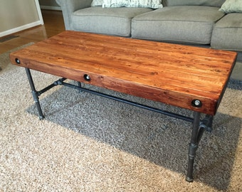 Rustic Industrial Coffee Table - Iron and Wood
