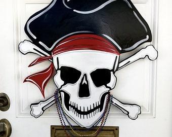 Gasparilla Pirate Skull and Crossbones, Door Hanger, Wreath, Beads