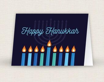 Printable Hanukkah Menorah Card Blue