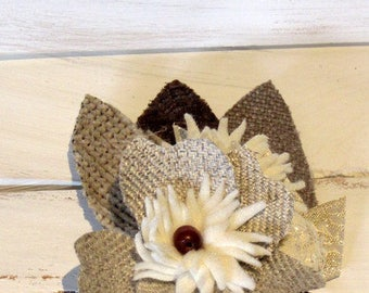 Rustic boutonniere, Mens boutonniere, Wedding boutonniere, Prom boutonniere, Shabby chic boutonniere, Barn wedding boutonniere, Fabric flowe