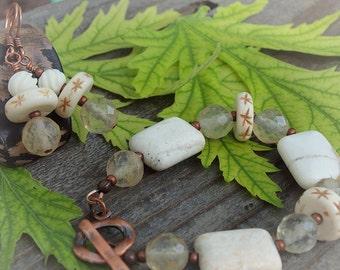 White Magnesite and Quartz Bracelet