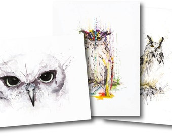 OWL TRILOGY *Limited Edition Giclée Print on Watercolour Paper - 300gsm.