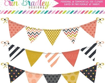 80% OFF SALE Mod Fall Bunting Clipart Clip Art Commercial Use Banner Flags Instant Download