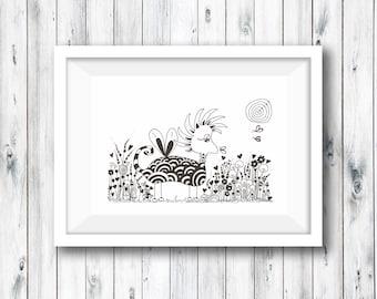 Original Illustration Art print, doodled animal, children's room, doodle print, zentangle, whimsical animal, home decor, Illustration
