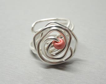 Rosebud Pearl rose silver plated wire Adjustable ring
