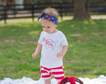 Memorial Day Outfit Toddler - Merica - Babys First 4th of July - Fourth of July Baby Girl - 4th of July Baby Girl - American Flag Clothing