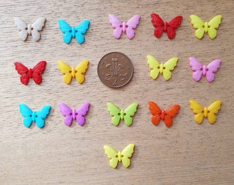 set of 15 resin butterfly buttons