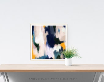 Josie,6x6-24x24in, Large Abstract Fine Art Print, blue green yellow abstract print