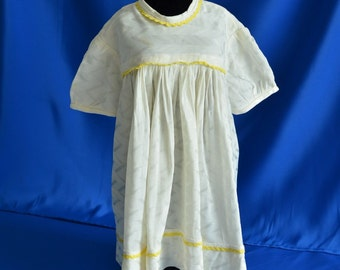 Vintage DRESS - baby dress puff sleeves and yellow trim. Never-Worn Handmade