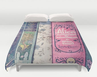 A Perfect Library Duvet Cover: home decor, Alice in Wonderland, Jane Austen, girl's room, blanket, books, librarian, pink, blue, purple