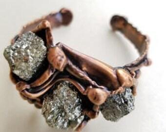 Copper Bracelet with Pyrite
