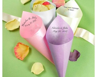 50 Personalized Paper Cones