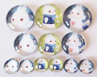 Set of 12 ALICE Bunny (craftsmanship) theme cabochons 12mm / 20mm / 25mm