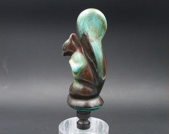 Custom Lamp Finial Featuring an Arts & Crafts Glazed Squirrel
