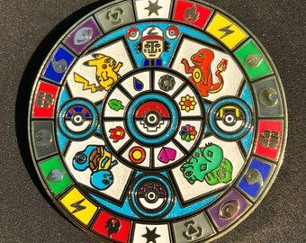 PokeMandala Pin / Mayan Calendar Hat Pin / Pokemon Pin / Aztec / Ancient