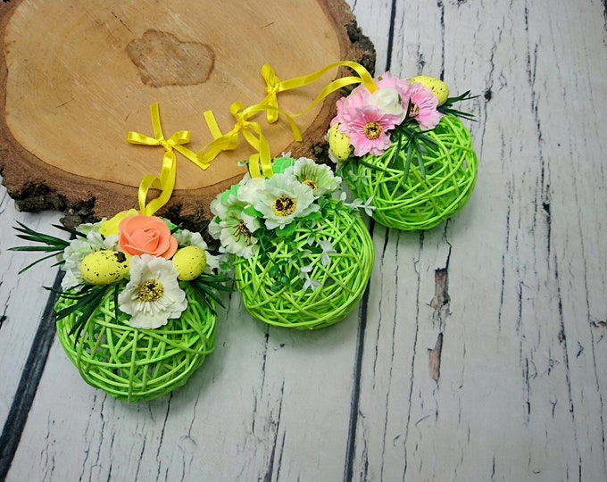 Floral rattan ball Easter egg home decoration