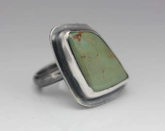 Turquoise Ring, Turquoise & Sterling Ring, Freeform Turquoise, Unique Boho Ring, Size 5.25