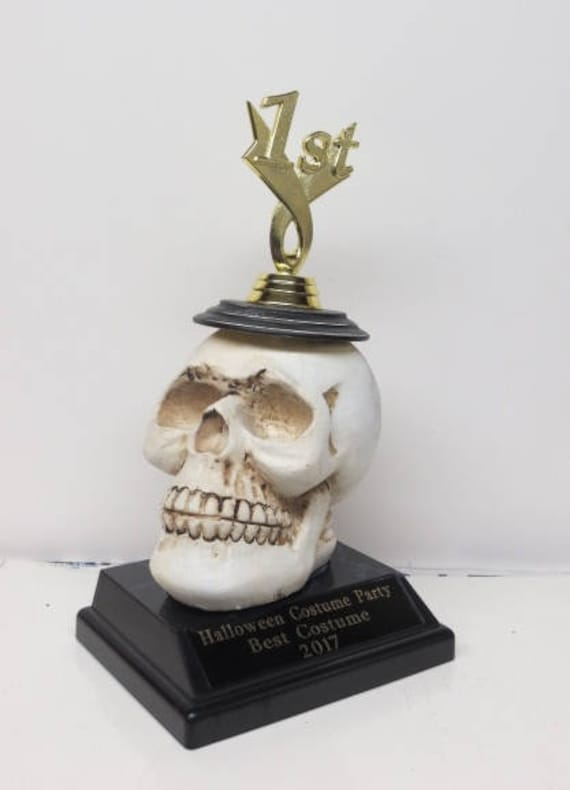 & Halloween Costume Contest Winner Trophy Skull Scariest Costume