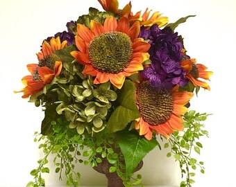MOTHERS DAY SALE Sunflower Peony Hydrangea Floral Arrangement Centerpiece Orange Purple Sage Green