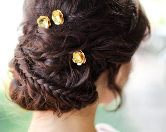 Casey Gold flower Bobby Pins with pearls