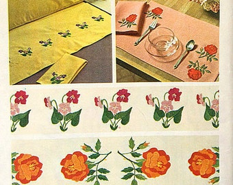 Simplicity 6442, DIY, Hope Chest, Embroidery Transfer Pattern, Borders, Floral, Roses, Viola, Pillow Cases, Place Mats, Dish Towels, Iron On