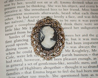 Jane Austen/ Regency Style Lady Cameo Brooch: Black and Ivory Lady with Pewter color Setting