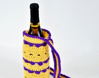 Wine Bottle Cozy - Wine Sack with Strap - Wine Bottle Tote - Wine Bottle Bag - Wine Tote - Wine Festival Bag - Crocheted Wine Sack
