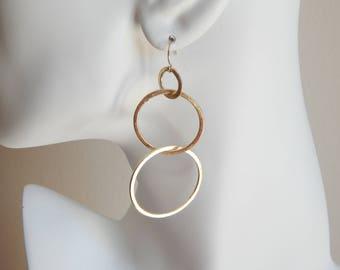 Brushed gold link earrings, statement earrings, dangle earrings, boho jewelry, beach chic, trendy jewelry, long earrings, minimalist jewelry