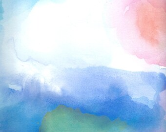 Watercolor Painting, Abstract Art, Light as a Feather