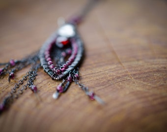 Garnet necklace wire-wrapped in sterling silver