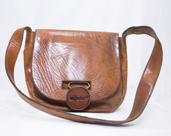 Handmade 70's  Craftmasters of Nantucket Leather Handbag with solid Brass Drop Closure with Leather Whale.