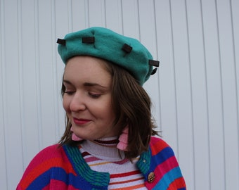 Vintage 90's Turquoise Wool Beret With Leather Tags