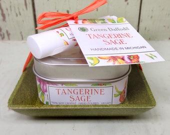 Tangerine Sage Candle & Lip Dish Kit-  Green Daffodil