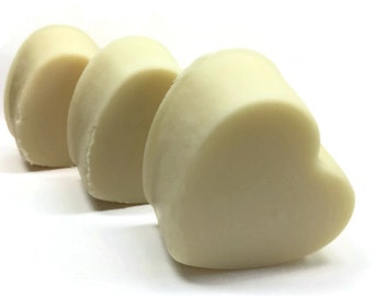Plumeria Handmade Cold Process Soap Bars - heart shaped, sweet floral scent, love, hot pink, vegan, natural, organic sustainable palm oil